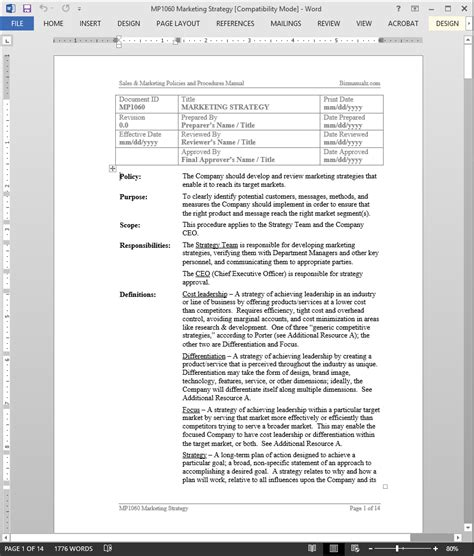 Marketing Strategy Procedure Marketing Policies And Procedures Template