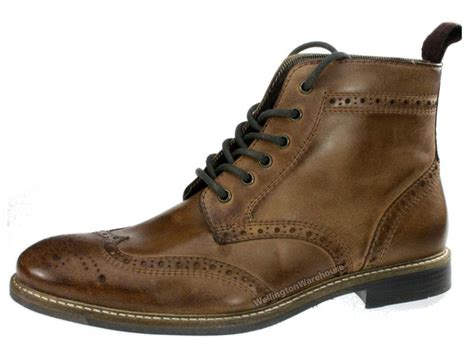 glaven brogue lace up leather mens boots ebay
