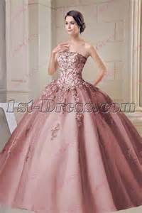 beautiful dusty rose strapless sweet 15 ball gown 1st
