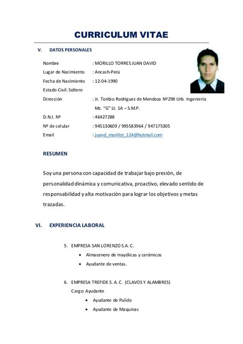 Modelo De Curriculum Vitae Para Chofer Profesional Cv