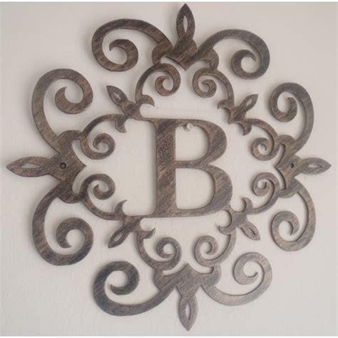 Metal Wall Decor Letters Family Initial Monogram Inside A Metal Scroll With B