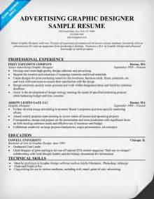 graphic design resume sles advertising graphic designer resume template