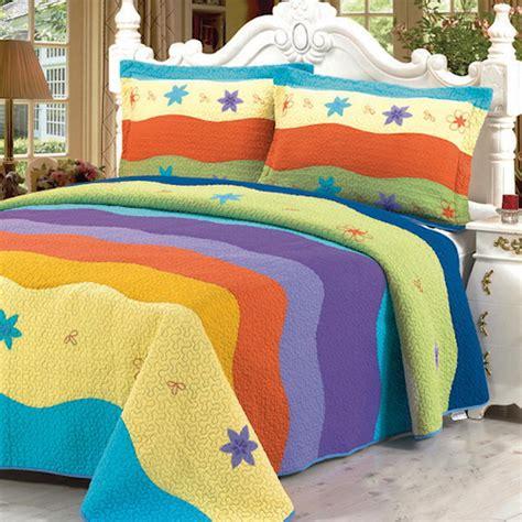 Colorful Quilt Bedding Sets Colorful Striped Bedding Quilt Set