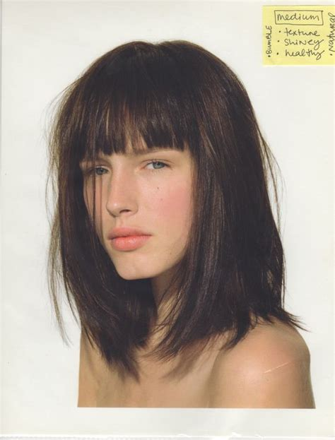 medium hairstyles for hot climet long bob with bangs and medium brown warm hair color