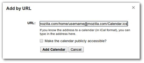 Calendar Add By Url User Ckoehler How To Your Zimbra Calendar Mozillawiki