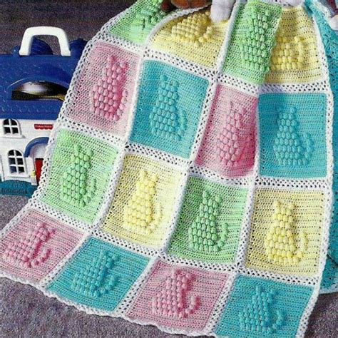 pattern for cat afghan vintage crochet pattern kitty cat afghan by