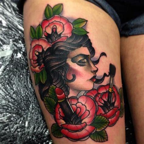 new school gypsy tattoo new school flower gypsy thigh tattoo by mike stocklings