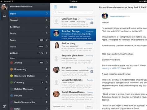 beautiful mail evomail for ipad slick beautiful and simple