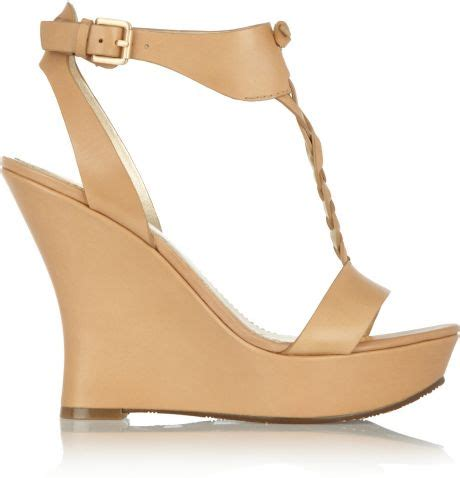 by sigerson morrison leather wedge sandals in beige