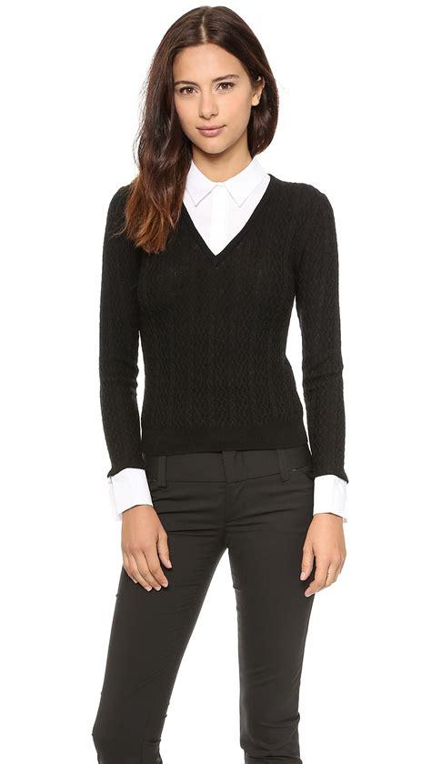 Kemeja Sweater Black White lyst v neck collared sweater black white in black