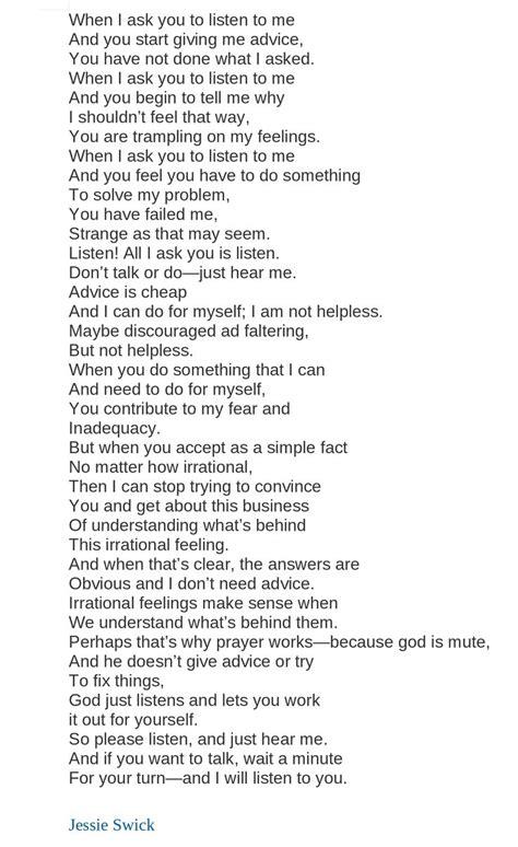 Please Just Listen Poem by Jessie Swick - Poem Hunter