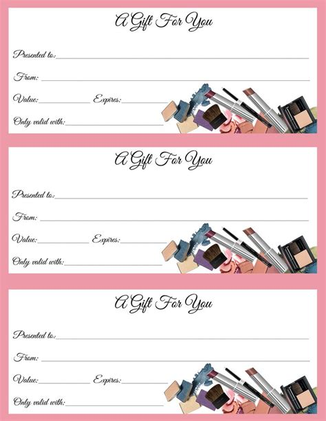 makeup gift certificate template 25 unique gift certificates ideas on free