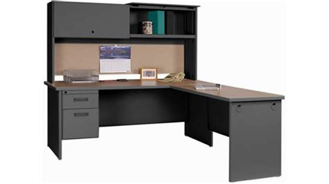 steel l shaped desk steel l shaped desk with hutch by marvel pronto collection