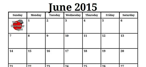 printable monthly calendar for june 2015 june 2015 calendar gallery