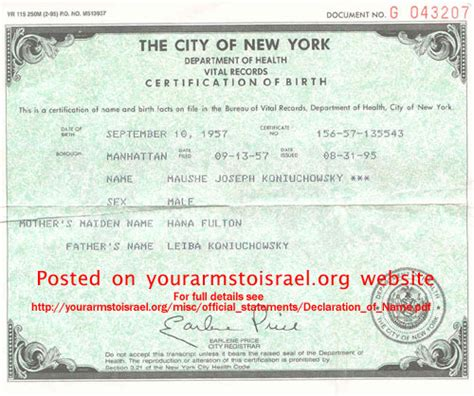 Ny State Vital Records Birth Certificate Girlshopes