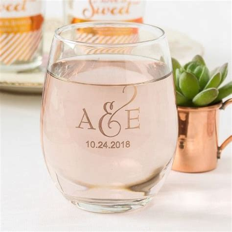 wine glass wedding favors personalized stemless sample