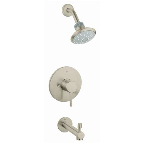 shop grohe concetto brushed nickel 1 handle bathtub and shower faucet with single function shop grohe concetto brushed nickel 1 handle bathtub and