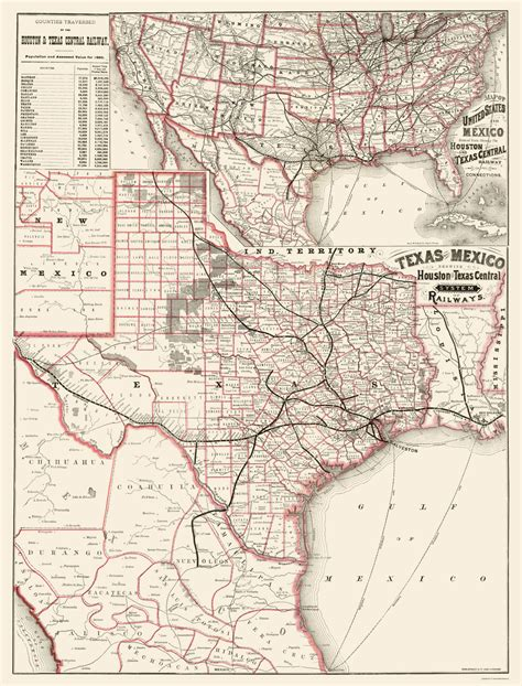 texas rail map railroad maps houston and texas central railways tx mcnally 1880