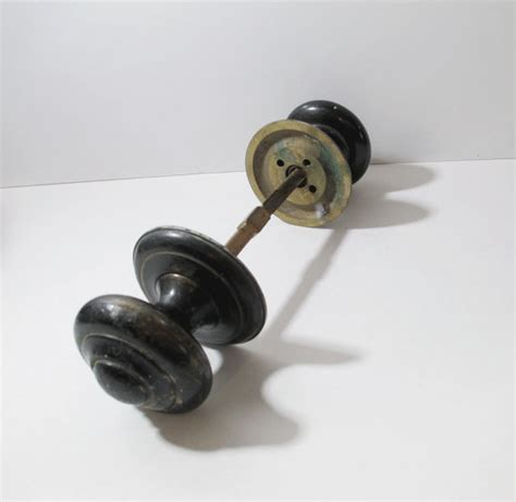 2 vintage black iron door knobs industrial by