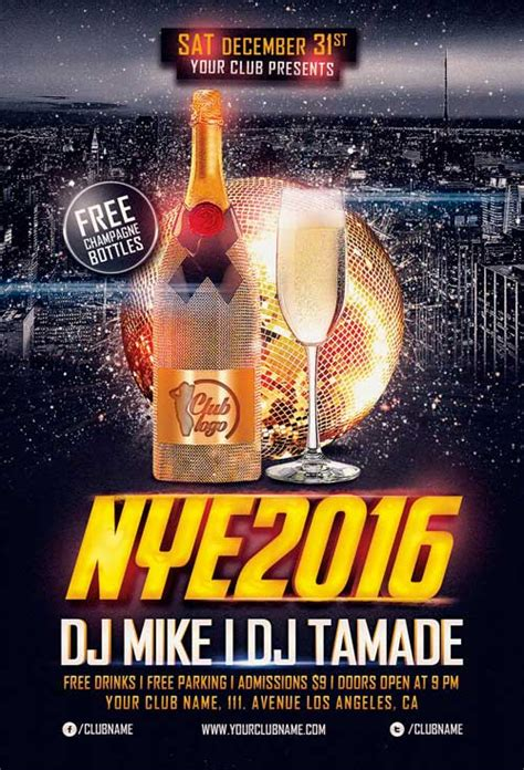 New Years Eve Free Flyer Template Download For Photoshop New Year Flyer Template Free