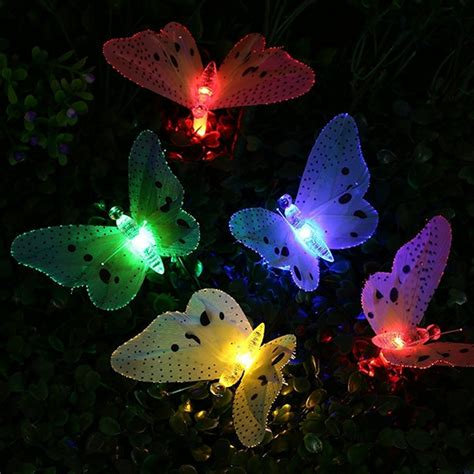 Solar 12 LED Multi color Fiber Optic Butterfly String