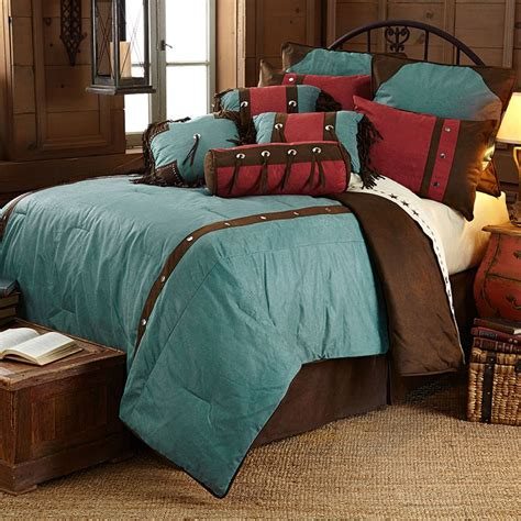 western red triple star comforter set cheyenne western bedding set floral design turquoise