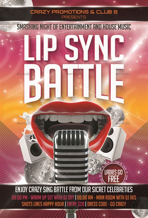 lip sync battle flyer template  designroom