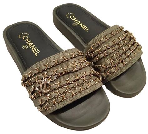 Flat Shoes Dm 98 1 green 17c khaki gold chain iconic class cc mule slide flat 36 sandals green sandals khakis