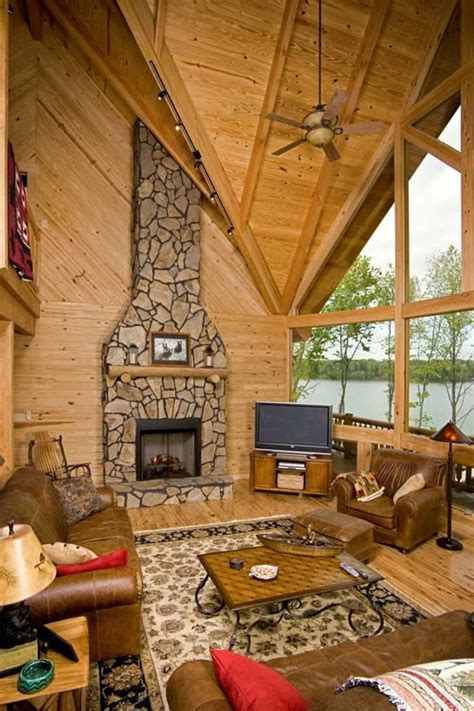 log cabin great room lakeside cabin tour against the odds log home living