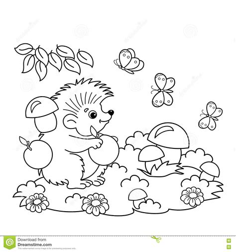 butterfly meadow coloring pages coloring page outline of cartoon hedgehog with apples and