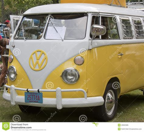 volkswagen van front view yellow white 1966 vw cer front view editorial