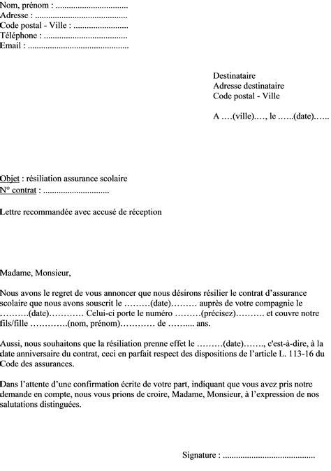 Exemple De Lettre Résiliation Assurance exemple de lettre de r 233 siliation assurance scolaire