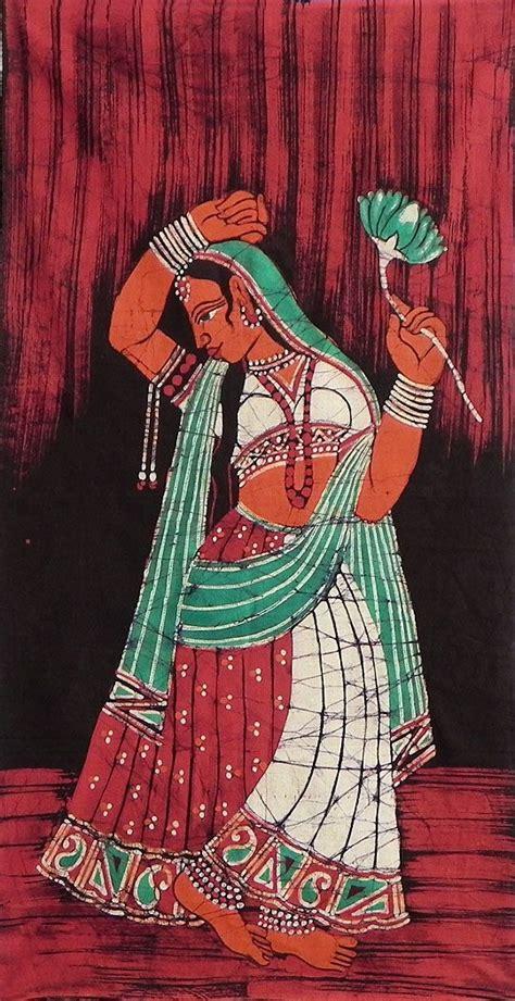 Princess Batik rajput princess batik painting on cloth 35 x 18 inches