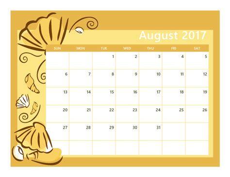 august calendar template free august 2017 printable calendar printable calendar