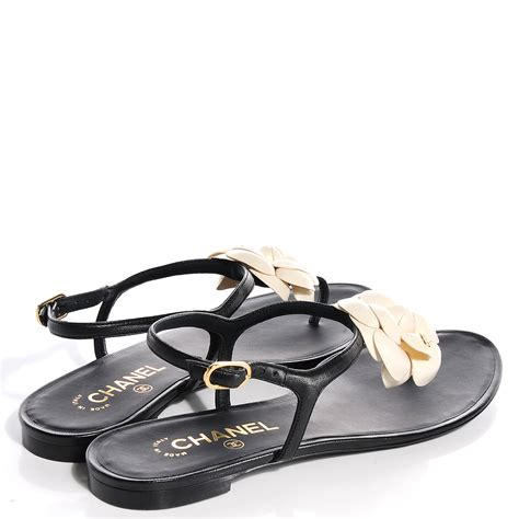 chanel sandals chanel lambskin camellia sandals 40 black white 87919