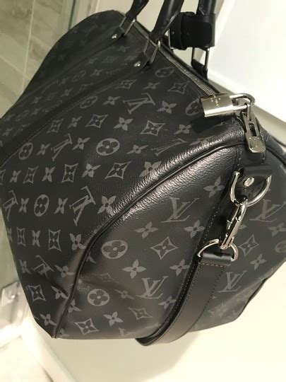 louis vuitton black grey mono eclipse canvas keepall