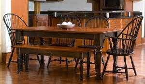 Wooden Kitchen Tables With Benches Rustic Brown Rattan Dining Chairs With Brown Wooden Bench Plus Rectangle Brown Wooden