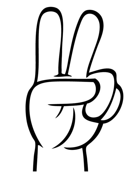 free coloring pages of hand with 1 finger