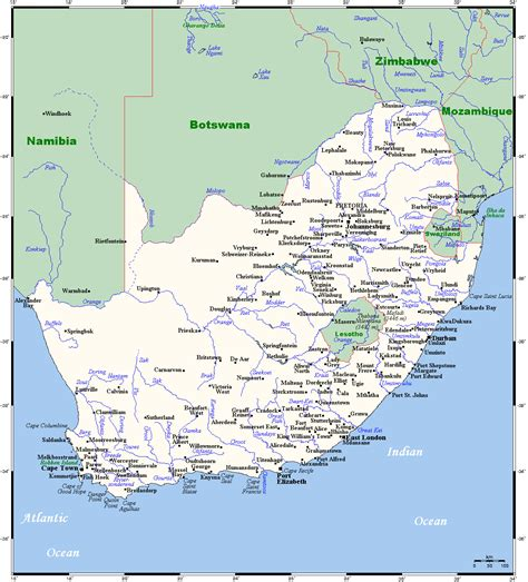 south africa map with cities map of south africa with all cities south africa map with