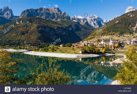 alto adige molveno lake trentino alto adige italy stock photo