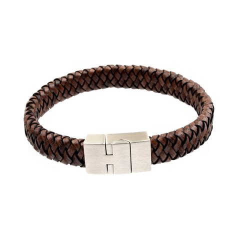 Handmade Mens Braided Leather Bracelets - s flat braided leather bracelet 12mm brown richbud