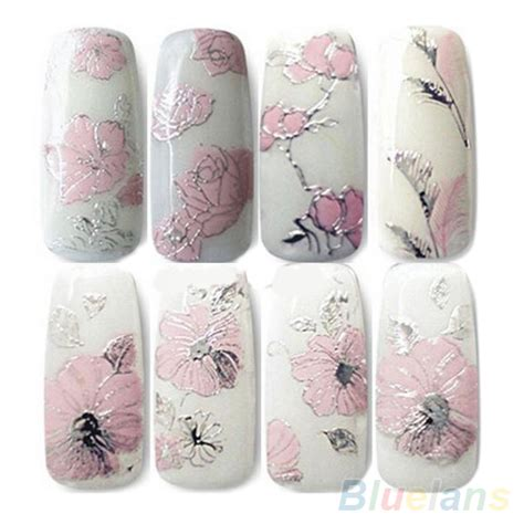 3d Nail Sticker 3d nail stickers embossed pink flowers design nail decal tips stickers sheet manicure 2ju7