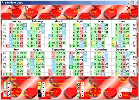 Contraception Calendrier Bloodays Conception And Contraception Calendar Avec