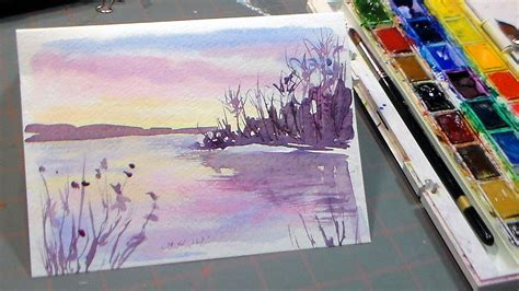 tutorial watercolor sunset easy 3 color watercolor sunset doovi