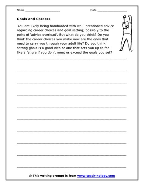 Career Day Worksheets by Goals And Careers Prompt