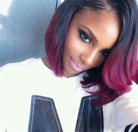 high low bobs black and burgundy high low bob it s a weave i believe