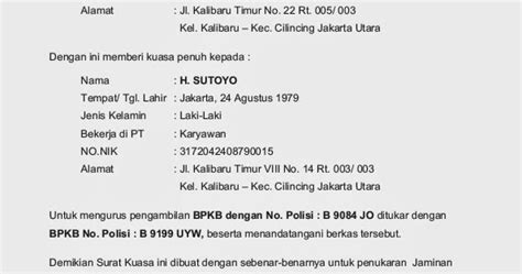 gudang tugas herru07 contoh surat kuasa pengambilan bpkb