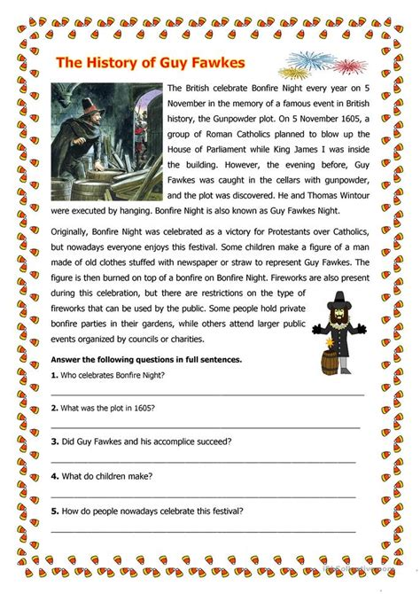 printable reading games for adults the history of guy fawkes worksheet free esl printable
