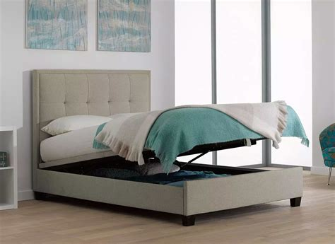 dreams beds evert oatmeal fabric upholstered ottoman bed frame