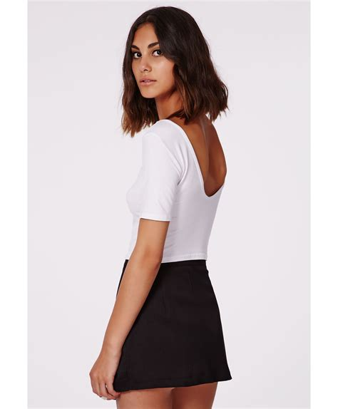 Scoop Back Tops by Missguided Pamelka White Scoop Back Crop Top In White Lyst